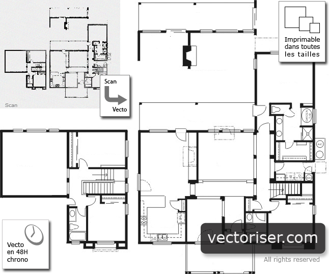 vectorisation de plans d 39 architectes. Black Bedroom Furniture Sets. Home Design Ideas