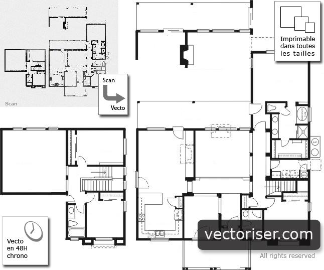 vectorisation de plans d 39 architectes. Black Bedroom Furniture Sets. Home Design Ideas